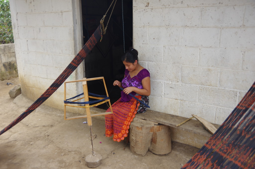 Making yarn for the traditional weaving that is common around Lago Atitlán