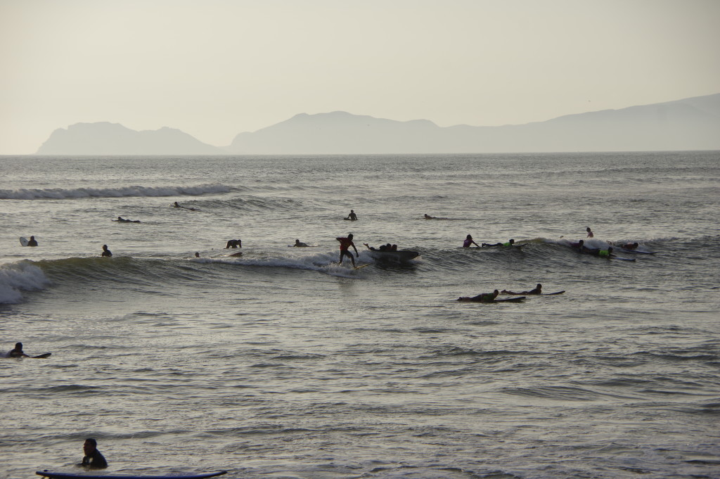 Surfers trying to master the rough sea