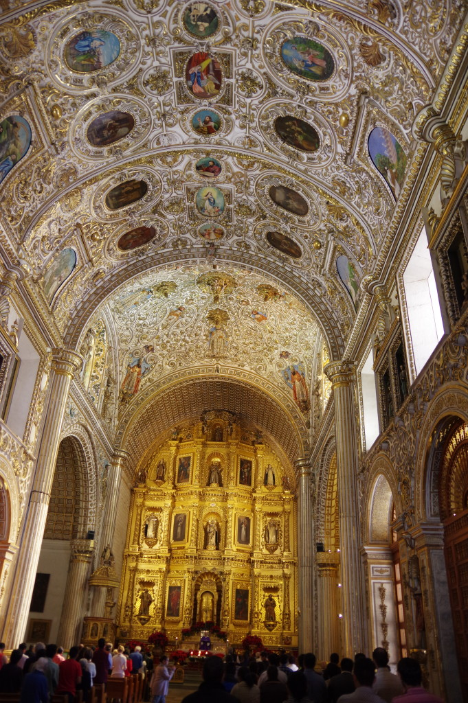 Inside – the most nicely adorned church I have seen in Mexico