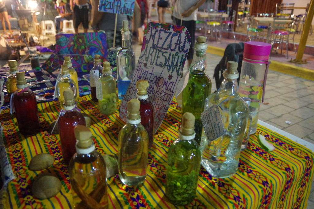 Many varieties of Mezcal for sale on the local market