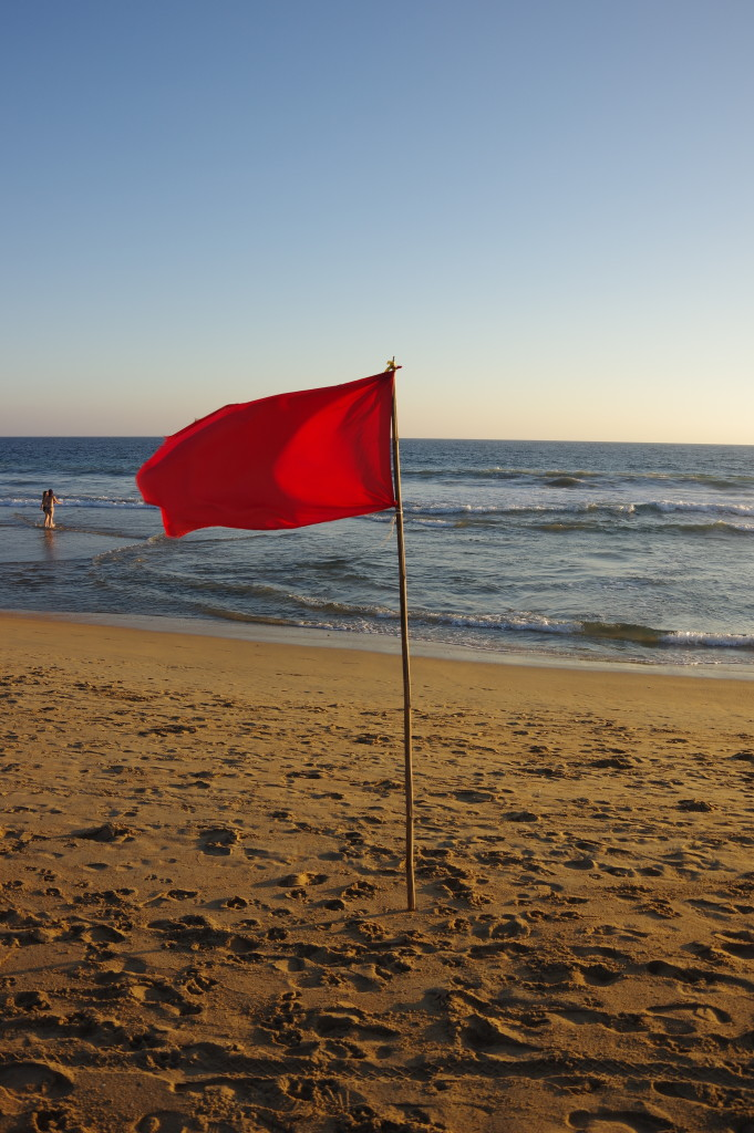 "The red flag means ""danger"" - or sometimes rather ""sorry, there is no lifeguard today"""