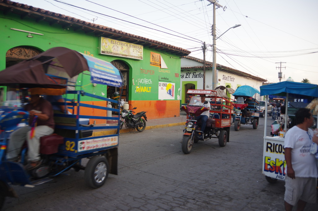 Motocarros - a local type of public transport, with a concept similar to a Tuk-Tuk but apparently following fixed routes