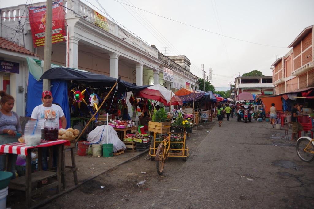 Market along a former railway line