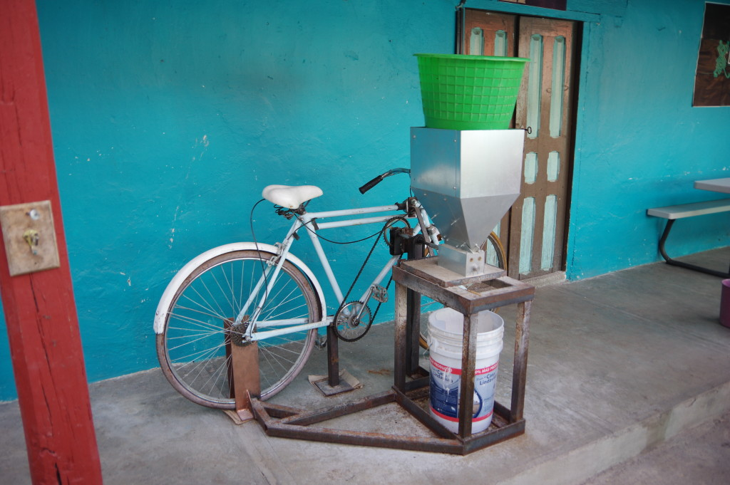A bike-powered malt mill!