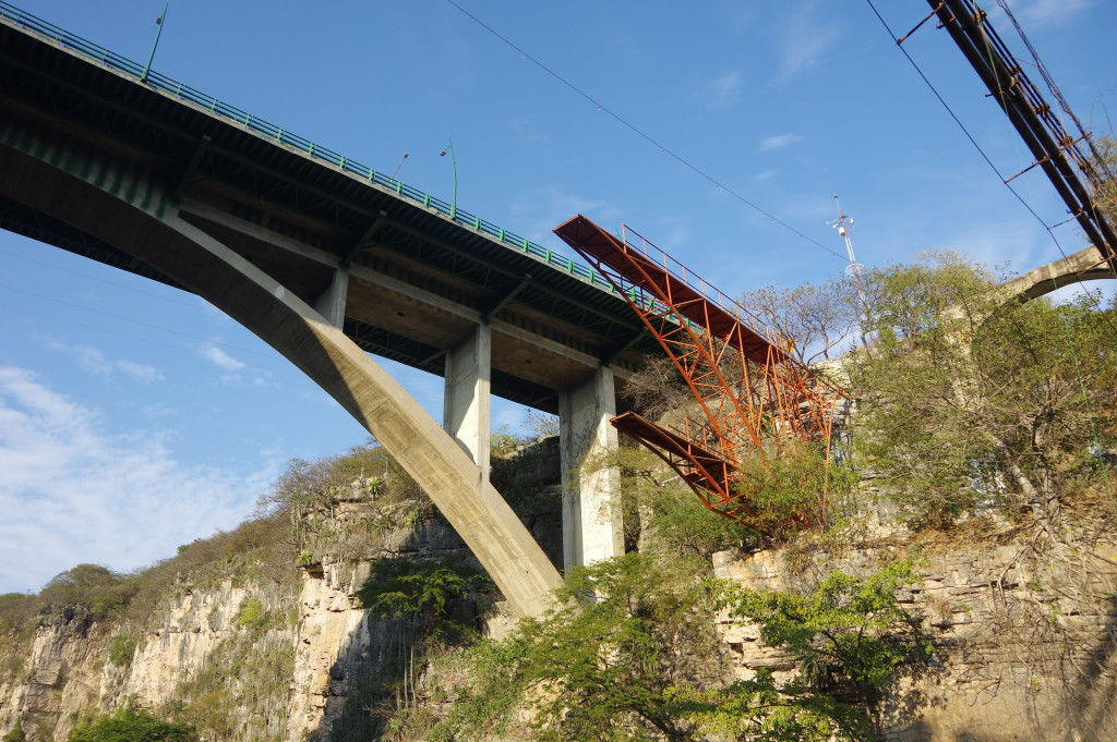 Incomplete bridge at the entrance to Cañon Sumidero