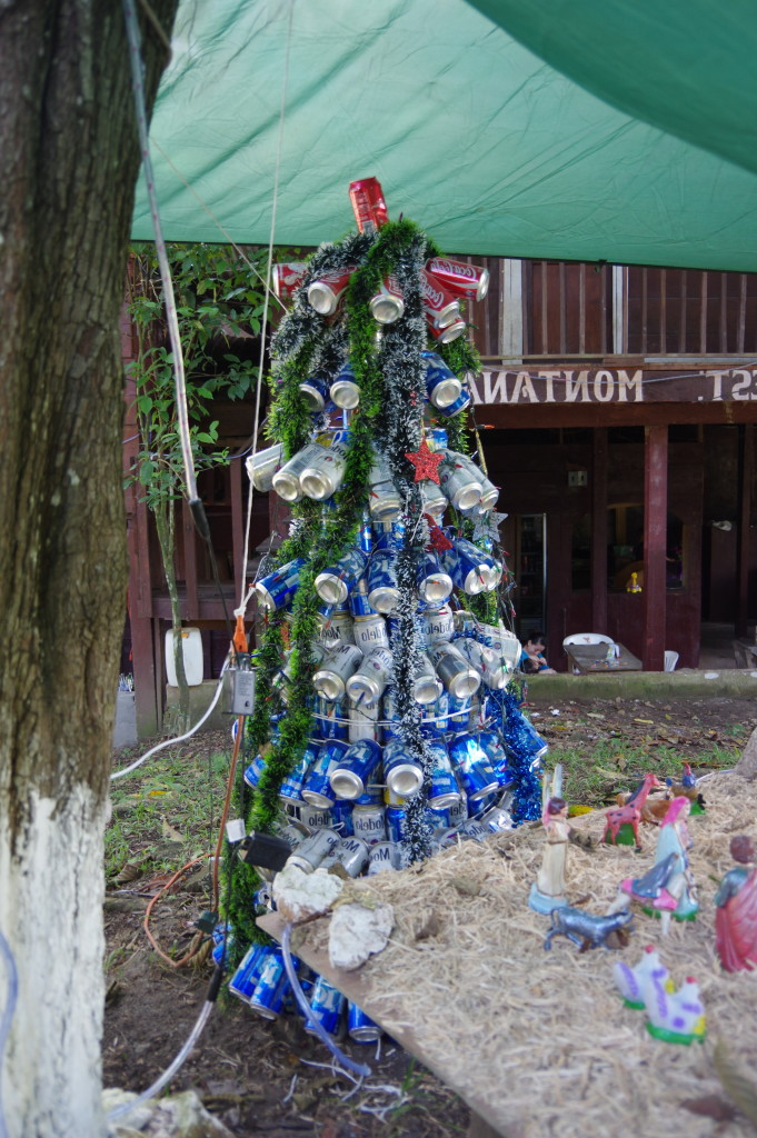 Beer can Christmas tree at a restaurant