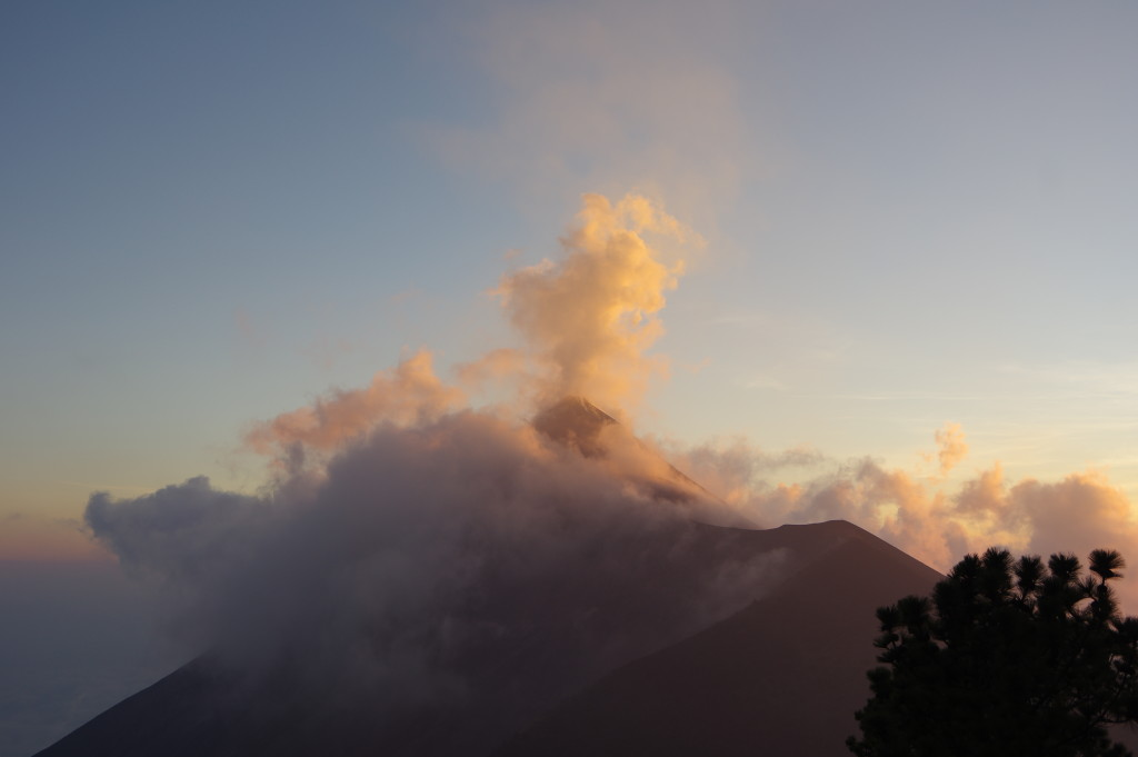 A first eruption of Fuego, seen from the camp