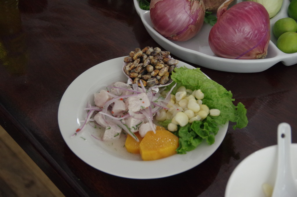 "Ceviche, a Peruvian dish with raw fish ""cooked"" in lime juice"