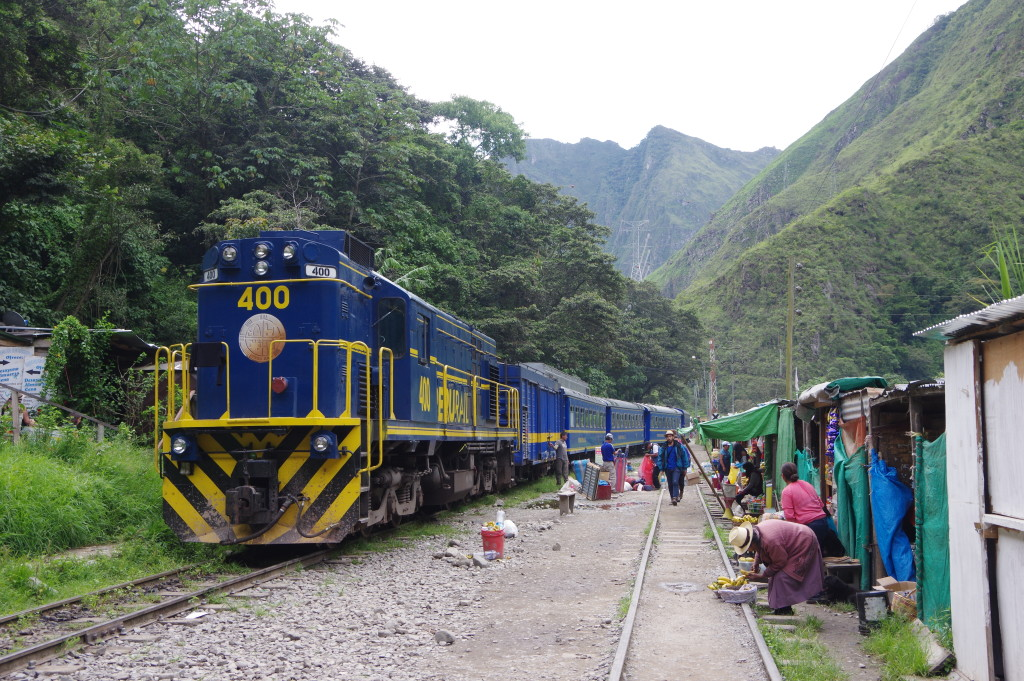 Peru Rail train waiting in Hidroeléctrica