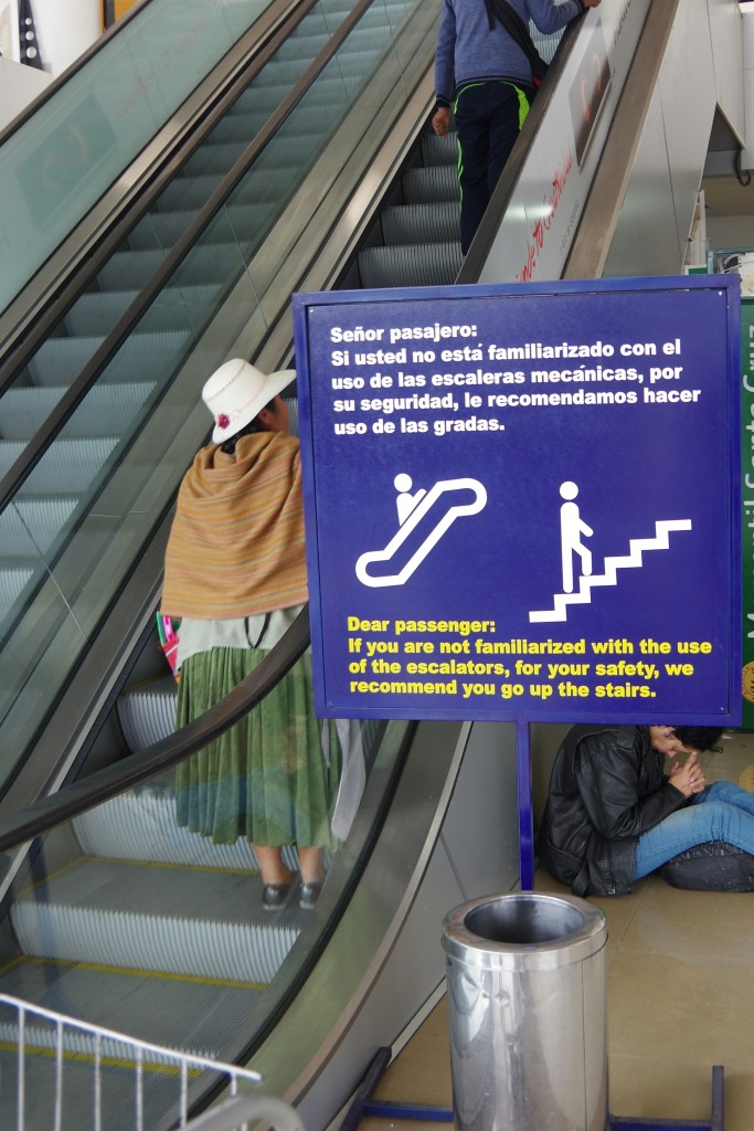 Some Bolivians may not be used to escalators
