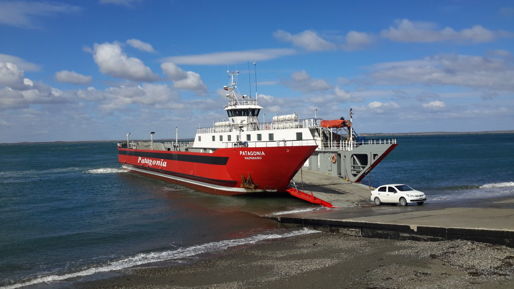 Ferry crossing the Strait of Magellan at Punta Delgada